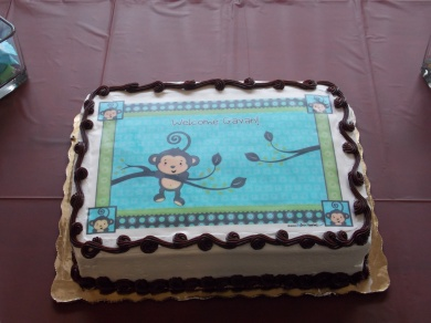 baby shower, florida, event planning, blue and brown, monkeys, little boys